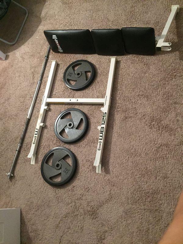 Bench press bar and 220 lbs