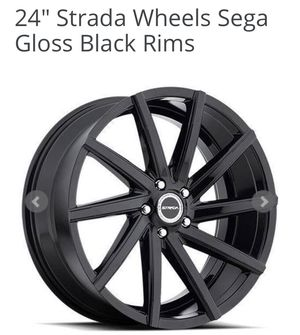 BLACK RIMS AND TIRES for Sale in Wilmington, CA