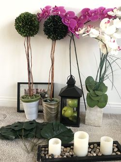 Set of Home Decor/ Home Goods And Items: Topiaries, Lantern, Monstera, Artificial Orchid, Etc for Sale in Chula Vista,  CA
