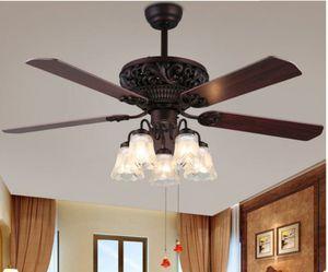 52inch Brown Wooden Ceiling Fan Light Decor 5 Blades 5 Light Chandelier for Sale in Dallas, TX