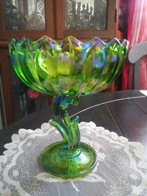 Vintage Indiana Carnival Glass Iridescent Lime Green Lotus Compote for Sale in Wilmington, CA