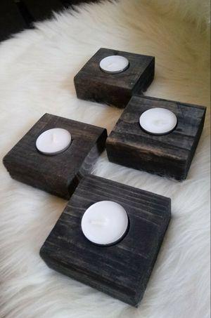 "1-1/2""H X 3-1/2""W X 3-1/2""D 🌱(4 Pcs./Set) Solid Wood Tea Light Candle Holders ::: Rustic Black for Sale in Las Vegas, NV"