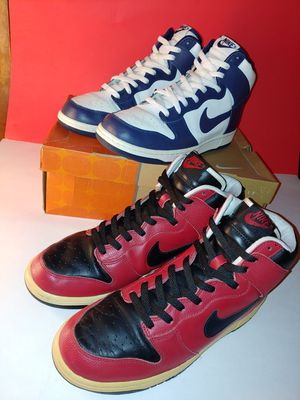 2 Pairs of Nike Dunk High 2004 release VNDS Bred and Navy Colorway Sizes 11 amd 10.5 for Sale in Los Angeles, CA