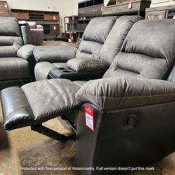 NEW, LEATHERETTE RECLINING LOVESEAT, GRAY AND BLACK, SKU#TC9210288. for Sale in Chino,  CA