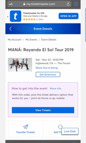 4 Mana tickets, $210 each for Sale in Downey, CA