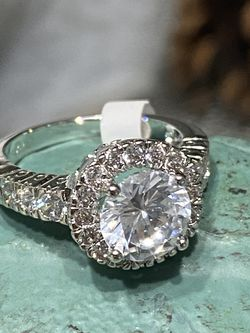 18k White Gold Filled Engagement Ring With Clear CZ Size 6,9 for Sale in Nashville,  TN