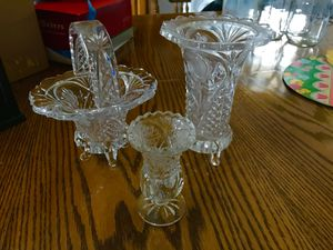 3 Piece Crystal Glass Pieces Basket Vase for Sale in Vienna, MO