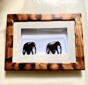 """Home Decor 11"""" x 15"""" wooden frame African Wall Decor Elephants for Sale in Saint Charles, MO"""
