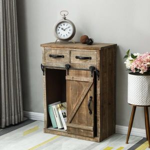 Rustic Wood Console Cabinet with Sliding Barn Door for Sale in Walnut, CA