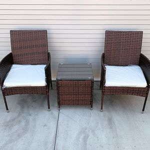 """New in box $130 Small 3pcs Wicker Ratten Patio Outdoor Furniture Set (Seat size 19x19"""") Assembly Required for Sale in Whittier, CA"""