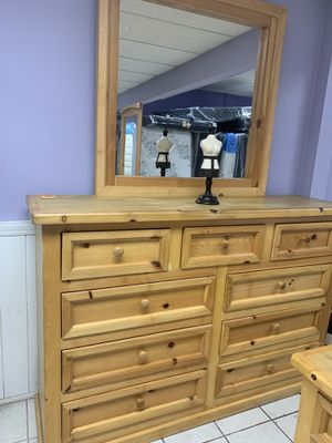 Enormous solid wood dresser, with mirror for Sale in Tulare, CA