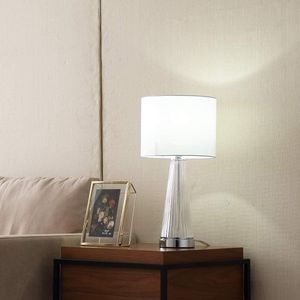 Fashion Style Glass Chrome Metal Base Bedroom Bedside Table Lamp,Bedside Lamp with White Fabric Drum Lampshade for Living-room, Bedroom for Sale in El Monte, CA