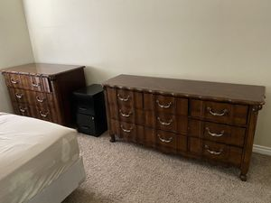 3 piece Solid Wood Dresser w/ smooth gliding drawers detailed Engraved 66x19x33. 49x24x35 46x24x35 for Sale in Lake Forest, CA