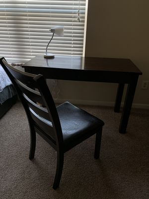 Brown wooden desk and chair for Sale in Greenville, SC