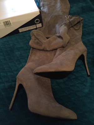Grey stretch leg thigh high boots for Sale in Cleveland, OH