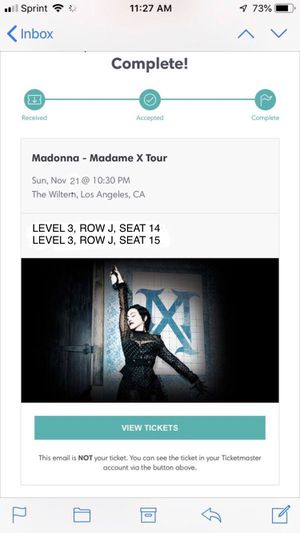 Madonna at The Wiltern 11/21 for Sale in Los Angeles, CA