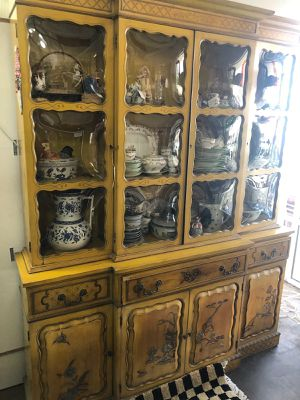 Yellow chinoiserie breakfront for Sale in Tucson, AZ