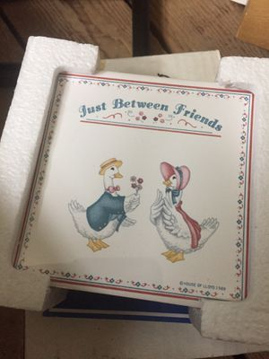 Just between friends set of 4 ceramic coasters for Sale in Hudson, ME