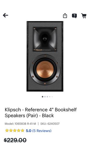 "Speaker's klipsch reference 4"" bookshelf speakers (pair) black for Sale in Hanover Park, IL"