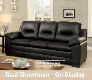 Visit Our Showroom 😁 We Finance - Black Plush Bonded Leather Couch Sofa for Sale in Los Angeles, CA