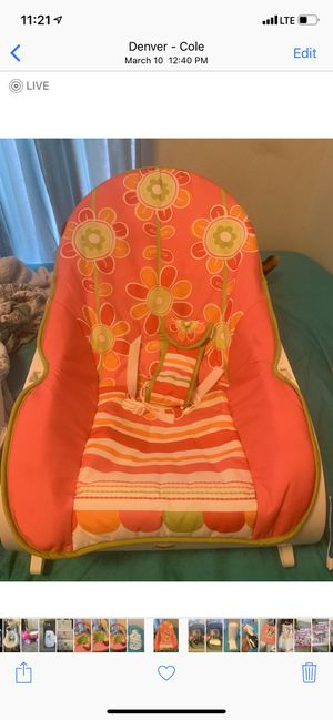 Baby vibrating seat also comes with bar across with toys attached for Sale in Denver, CO