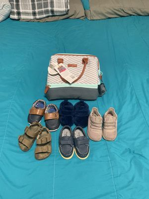 Baby boy shoes lot size 4 and a bag for bottles for Sale for sale  Jersey City, NJ