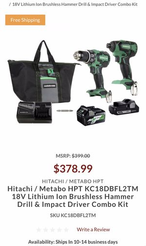 Brand New Metabo/ HPT Brushless 18V Hammer and Impact Drill Combo- Cheap! for Sale in Clovis, CA