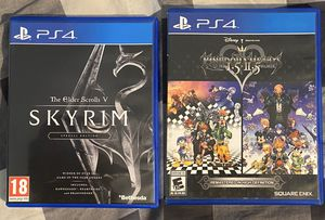 Kingdom Hearts 1.5/ 2.5 and Skyrim PS4 for Sale in Cudahy, CA