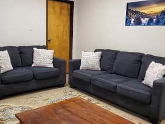 Charcoal Grey Couch And Loveseat Set With Throw Pillows for Sale in Denver,  CO