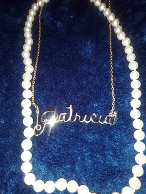 Real Gold Necklace Name: Patricia + Beautiful Strand of Pearls for Sale in Phoenix, AZ