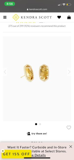 Kendra Scott Gold Earrings In Citrine for Sale in San Antonio, TX