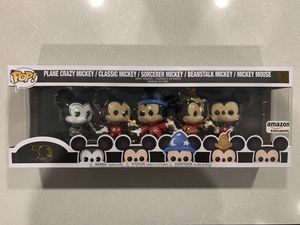 Mickey Mouse Funko Pop 5 pack Amazon Exclusive *MINT* Disney Archives Plane Crazy Classic Sorcerer Beanstalk for Sale in Highland Village, TX