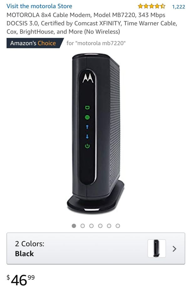 MOTOROLA 8x4 Cable Modem, Model MB7220, 343 Mbps DOCSIS 3.0, Certified by Comcast XFINITY, Time Warner Cable, Cox, BrightHouse, and More