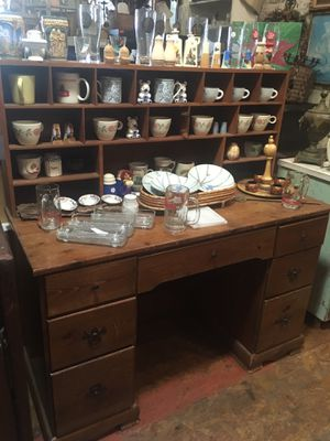 "Solid wood student desk with cubby hutch top $75 measures 48 x 20 x 50"" for Sale in San Diego, CA"