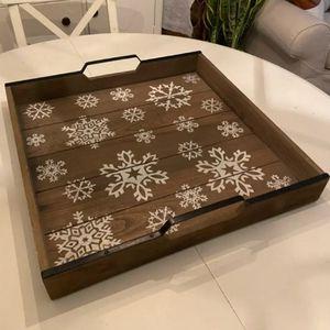 Large Farmhouse Wood Snowflake Tray for Sale in Edmonds, WA