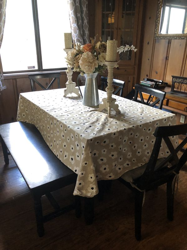 Dining set (table, 4 chairs, bench) and leather futon