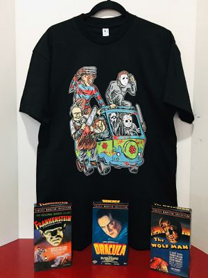 Medium Black unisex horror movie killers vacation time, chucky, michael myers, Jason and Freddy Krueger T shirt. for Sale in Los Angeles, CA