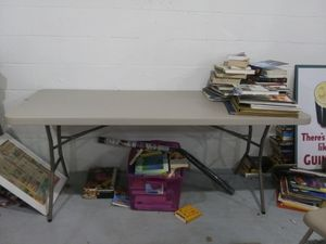 6' utility table and 6 chairs for Sale in Pleasant Hill, IA