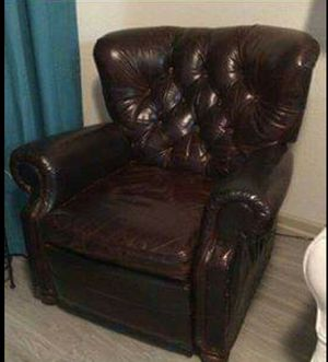 Beautiful Resoration Hardware Churchill Leather recliner with Nailheads REDUCED! for Sale in Delray Beach, FL