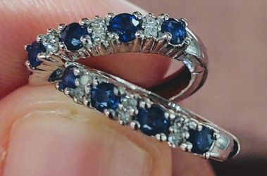 14K White Gold Earrings With Genuine Diamonds And Blue Sapphires for Sale in Lake Mary,  FL