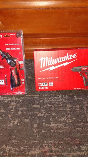 Milwaukee M1 2 3/8 drill driver kit and M12 soldering iron for Sale in Tempe, AZ