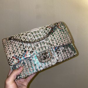 Chanel Double Flap Python Embossed Calfskin, Blue and Green Python Skin for Sale in Long Beach, CA