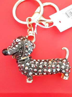New Glitz Jewelry goldtone and black crystal dachshund keychain for Sale for sale  Fullerton, CA