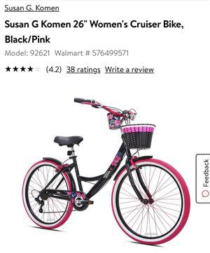 "We have 2 in box will assemble. Susan G Komen 26"" Women's Cruiser Bike, Black/Pink for Sale in College Park, GA"