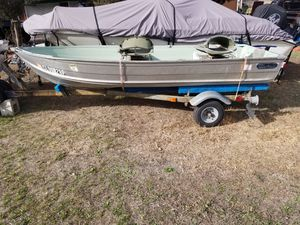 12 foot boat and trailer with trolling motor for Sale in Denver, CO