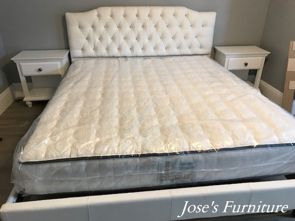 California King Faux Leather Bed (Mattress Included)