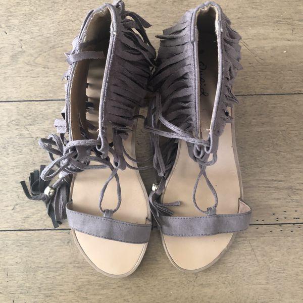 Qupid Tie Up Tassel Fringe Sandals