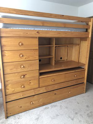 Wood bunk bed with lots of storage for Sale in Wauconda, IL