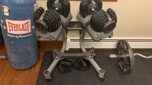Bowflex 552 dumbbell set with stand on wheels. Check similar listings on eBay, Craigslist, and marketplace, $500-$600 for one (1) dumbbell. This is for Sale in Groton, CT