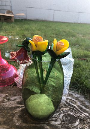 Glass vase and glass flowers for Sale in Sumner, WA